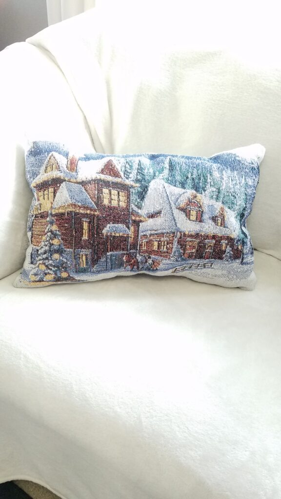 winter scene pillow from a placemat