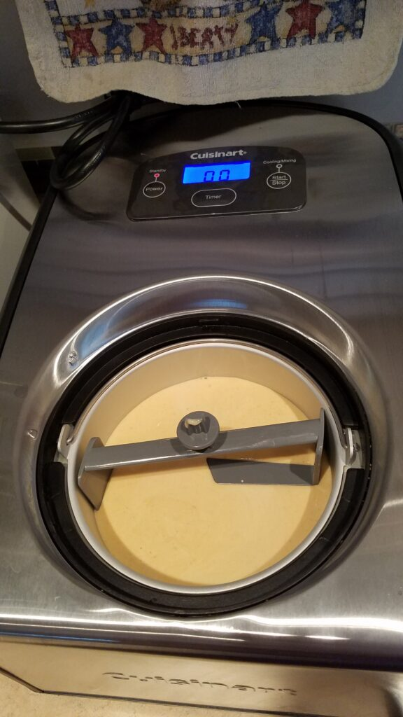 pumpkin frozen yogurt in ice cream maker