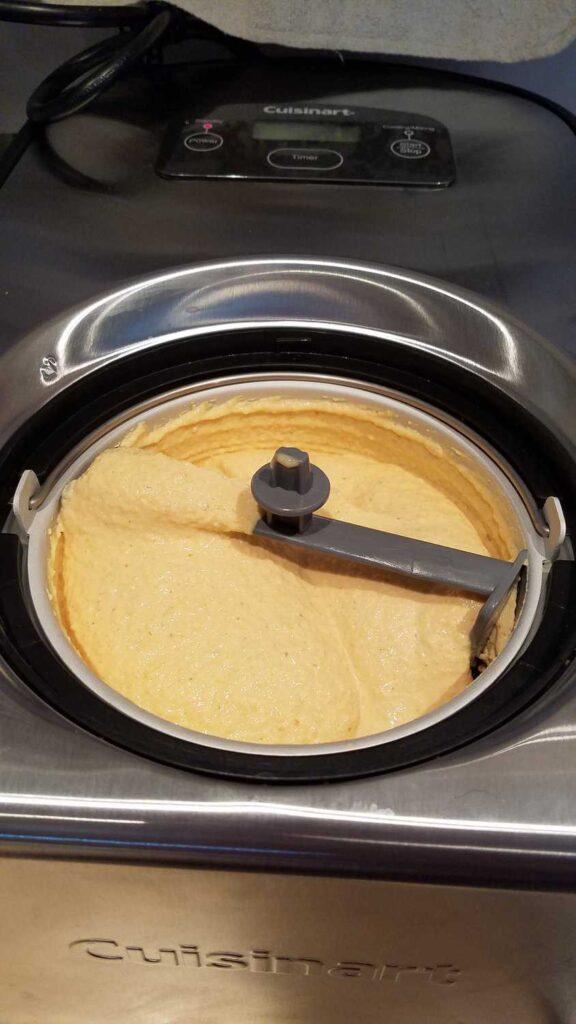 frozen yogurt in ice cream maker, pumpkin