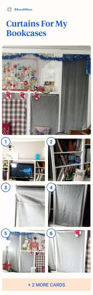 step by step directions with pictures of curtains for bookcases