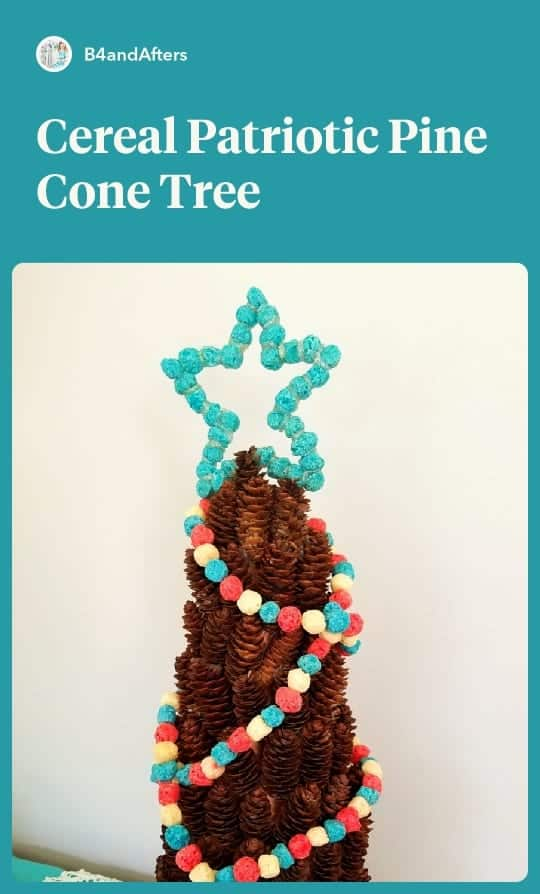 Cereal Garland Patriotic Pine Cone Tree