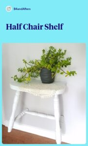 white half a chair with a plant on the shelf
