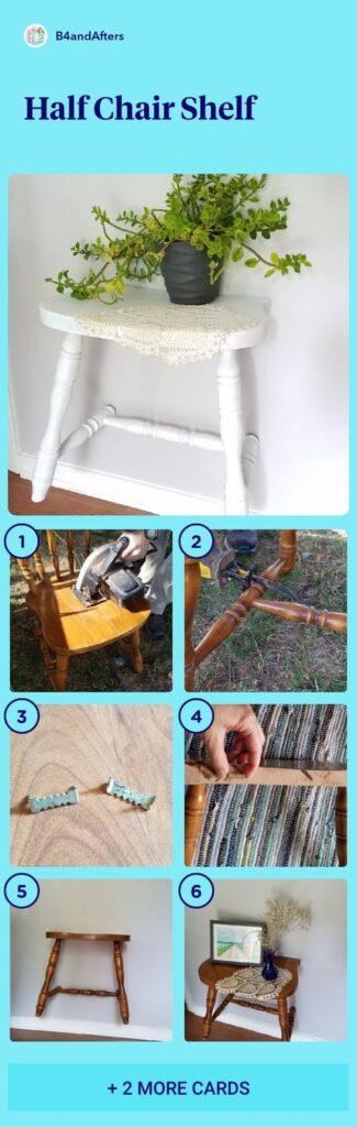 white half chair shelf, step by step