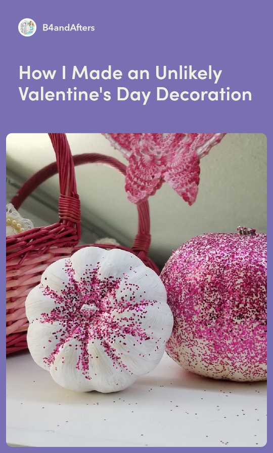 white pumpkins with pink glitter for valentine's day.
