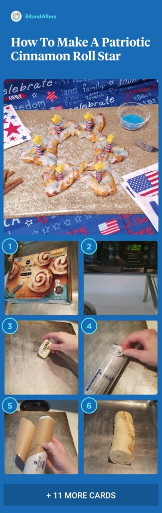 patriotic cinnamon roll star step by step in picture collage