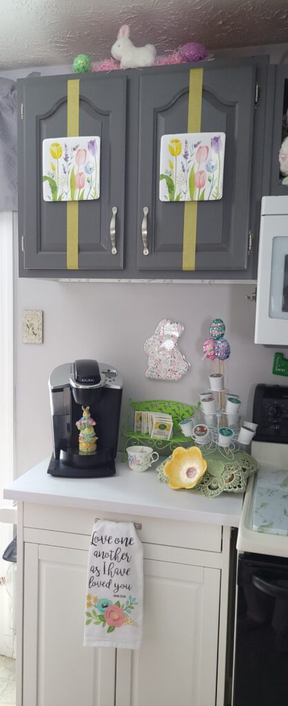 Coffee Station decorated for Spring
