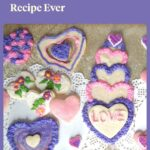 pretty pink and purple frosted heart shaped cookies