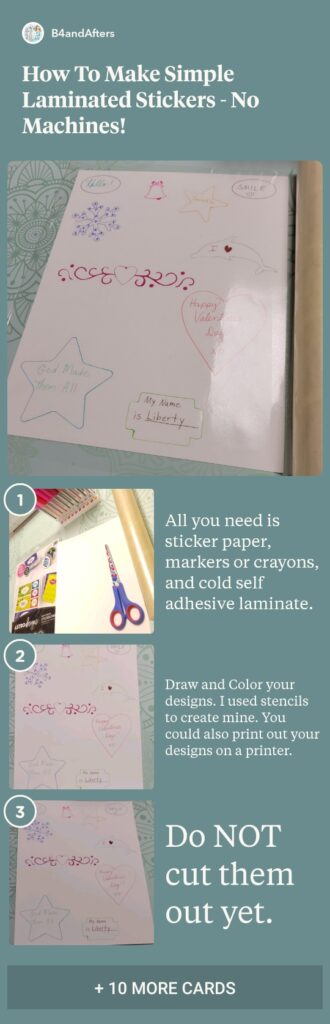 laminated sticker directions in pictures and text