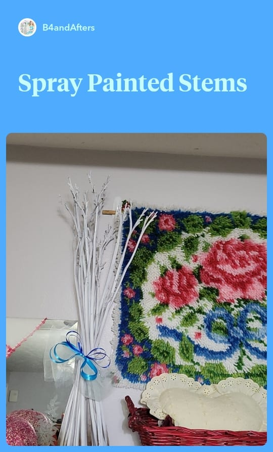 white spray painted flower stems and rose latchhook