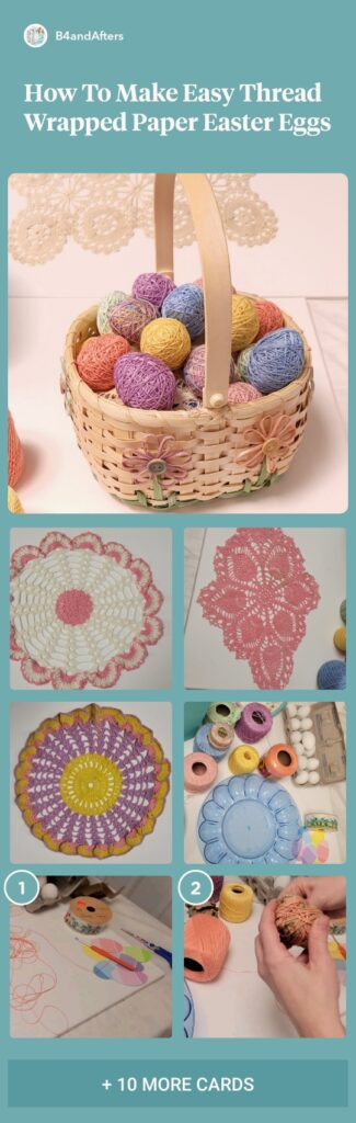 Thread wrapped pastel Easter eggs and doilies