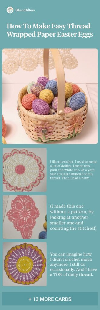 pastel thread wrapped Easter Eggs and doilies step by step