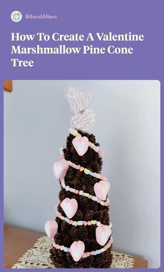 heart shaped marshmallows decorating a miniature pine cone tree