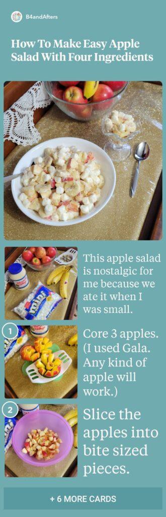 Apple salad with bananas and marshmallows