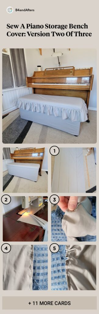 fabric bench cover with ruffled top
