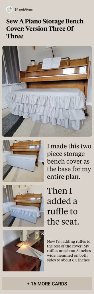 how to sew a ruffled slipcover for a piano bench step by step