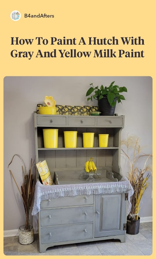 Painted hutch using Miss Mustard Seed Trophy Gray