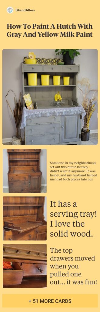 Trophy Gray and Mustard Seed Yellow painted hutch with yellow tupperware canisters on it