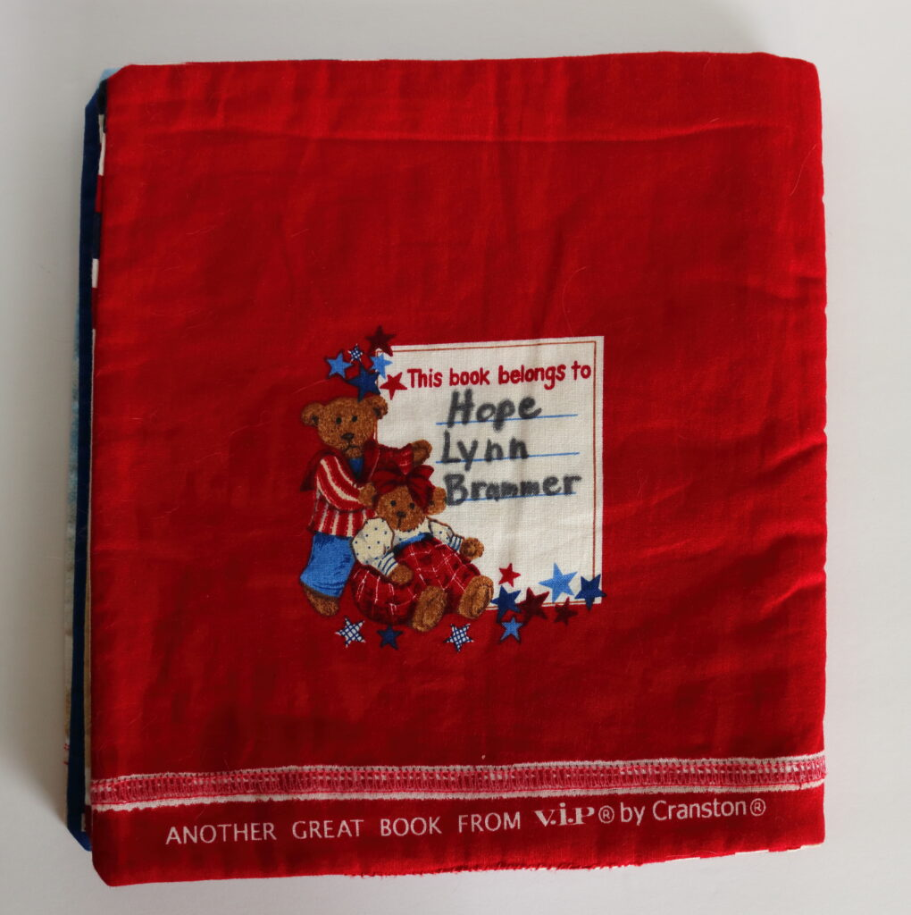 back cover of red cloth children's book