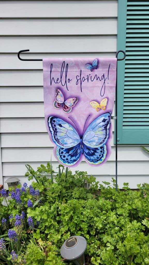 hello spring butterfly shaped garden flag