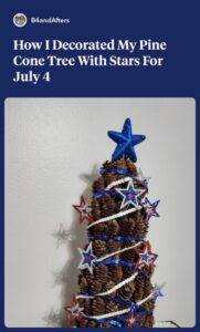 pine cone tree decorate with stars