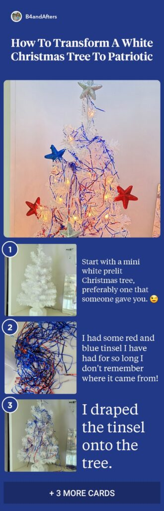patriotic red white and blue Christmas tree