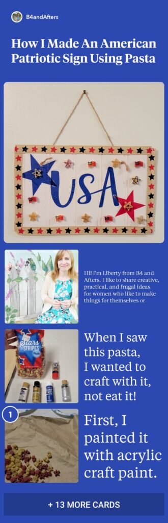 Easy DIY Patriotic Sign with red white and blue USA