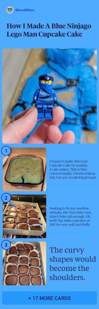 Blue Ninjago Lego cake step by step instructions