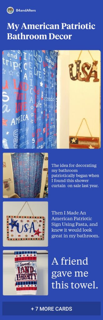 red white and blue patriotic bathroom decor