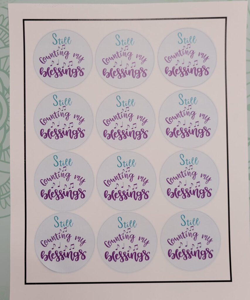 sheet of Counting My Blessings stickers