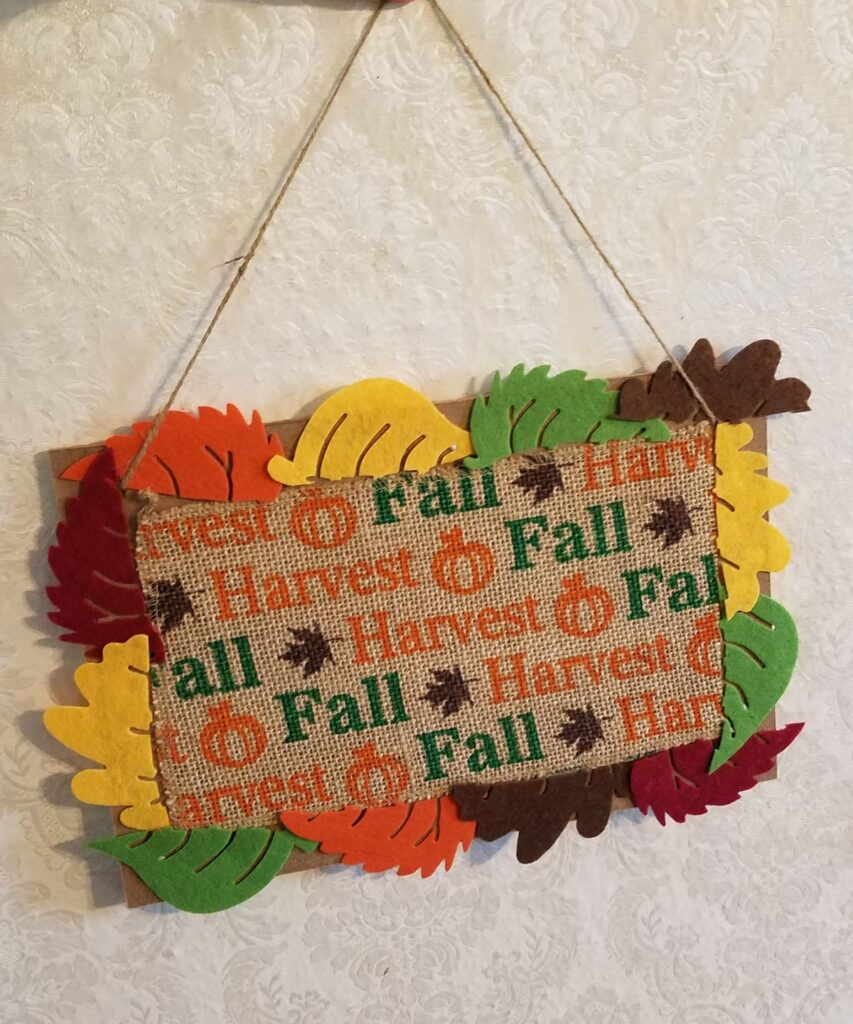 fall colored felt leaves with burlap fall ribbon