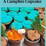 campfire cupcake as part of a cupcake cake