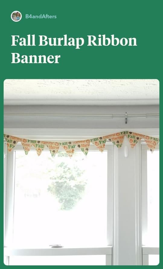 fall burlap banner on window