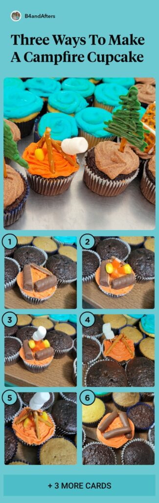 how to make a campfire cupcake 3 ways step by step collage