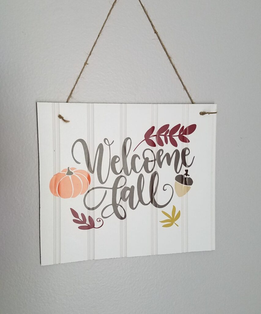 Welcome Fall sign with leftoever beadboard