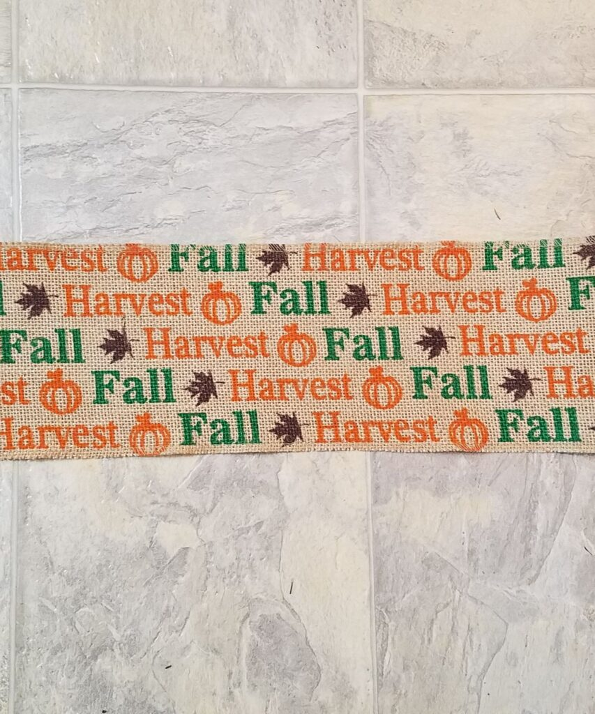fall words on burlap ribbon