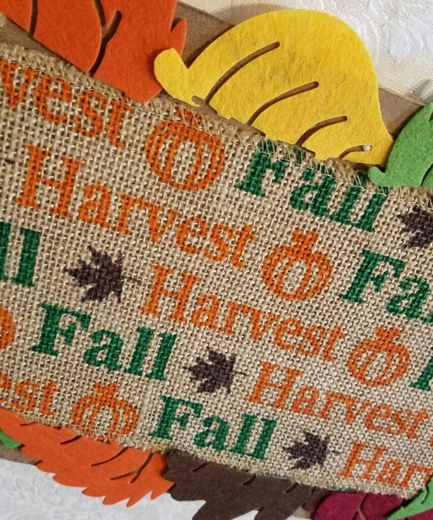 Harvest burlap printed ribbon