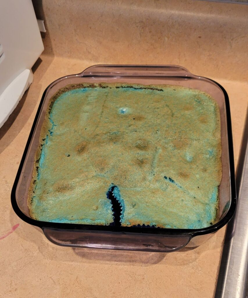 overflowing blue cupcakes