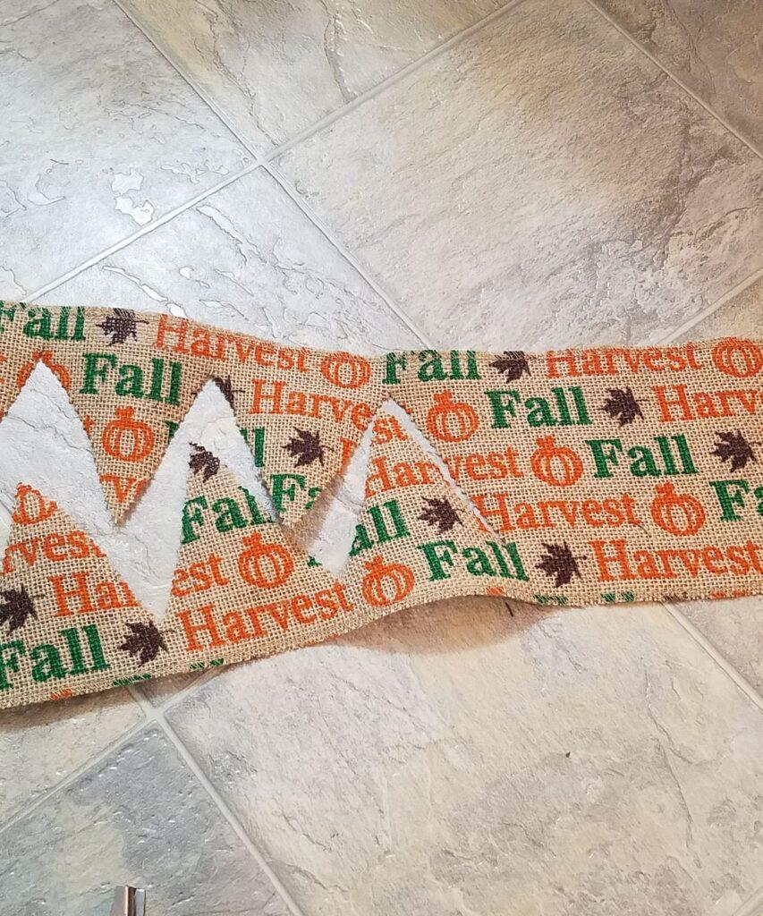 fall burlap cut into banner partially