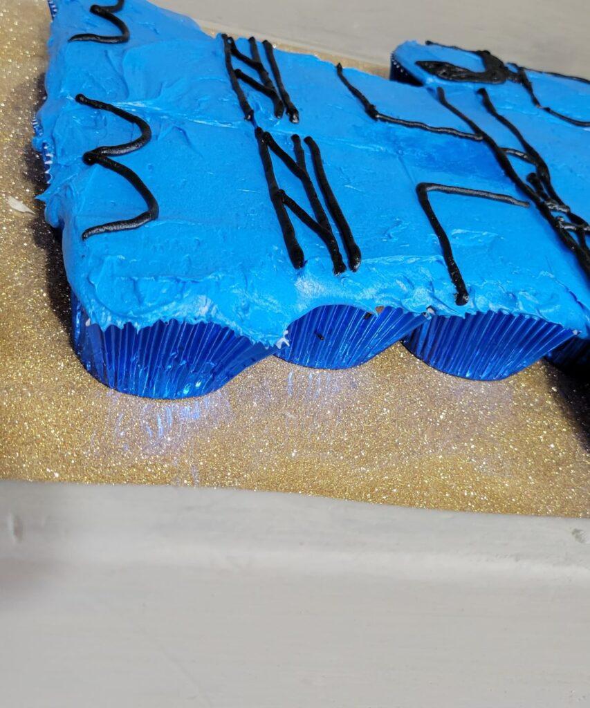 blue foil cupcake liners