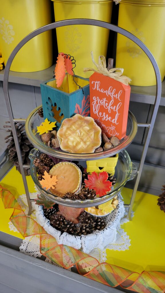 pie candles in a fall tiered tray