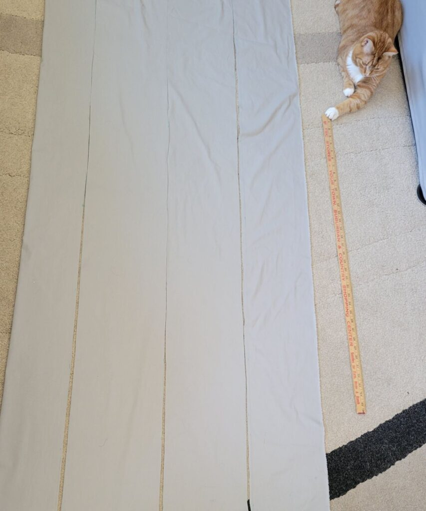 fabric cut into 4 strips