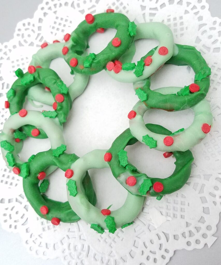 pretzels in the shape of a Christmas wreath