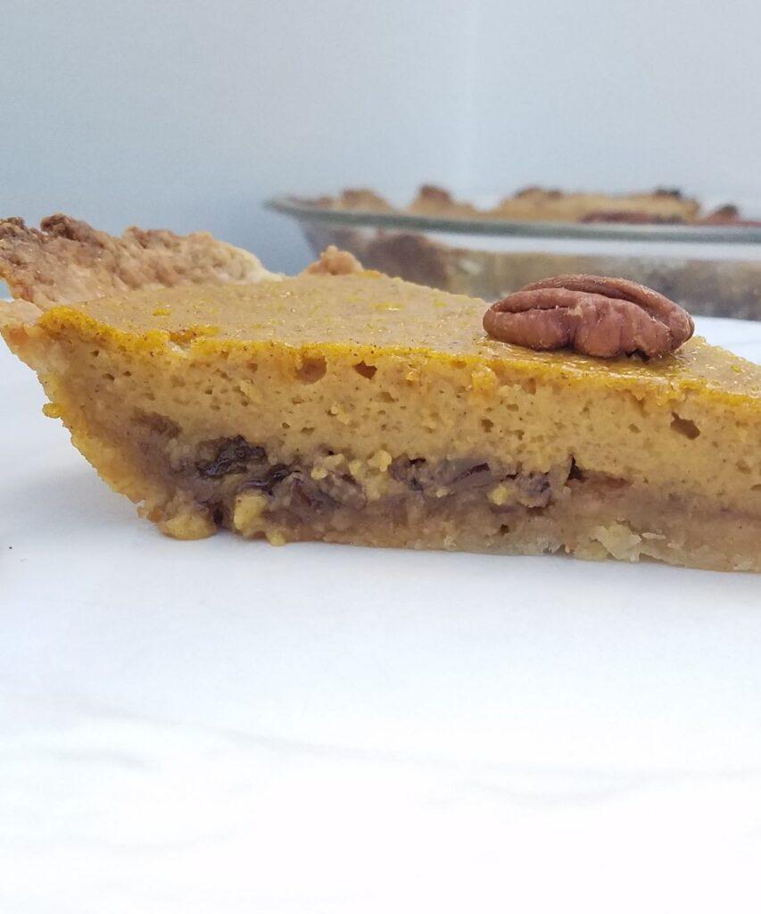 side of a pumpkin pie slice