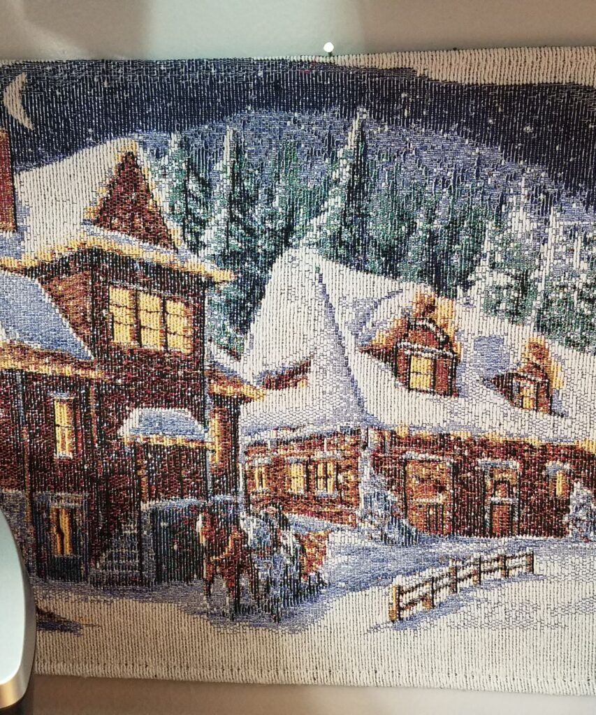 winter placemat as wall decor