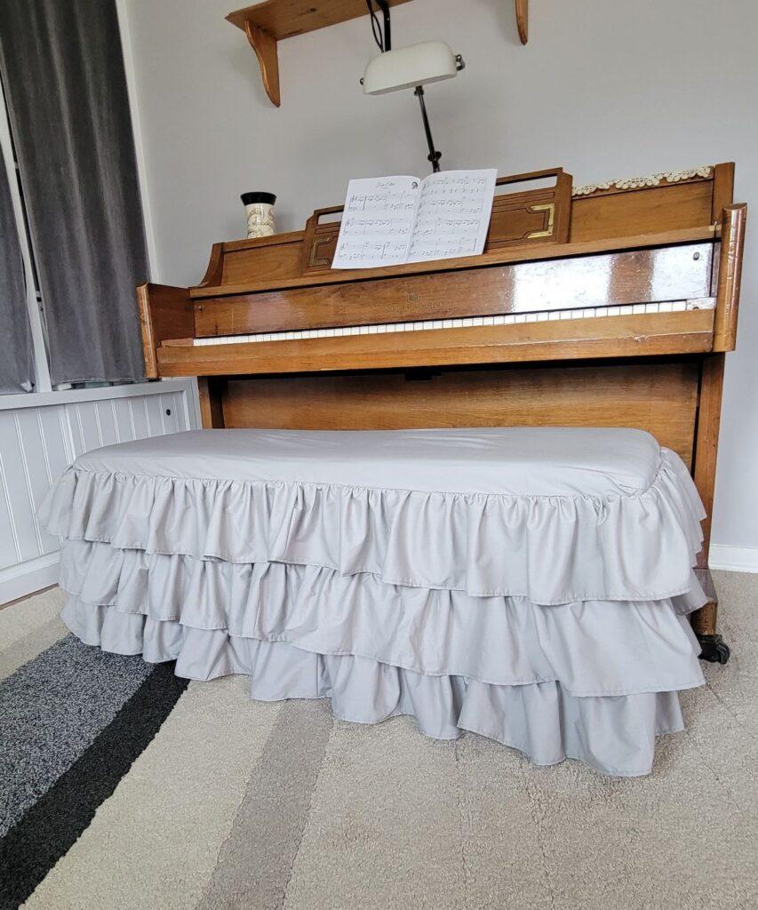3 ruffles piano bench cover in gray