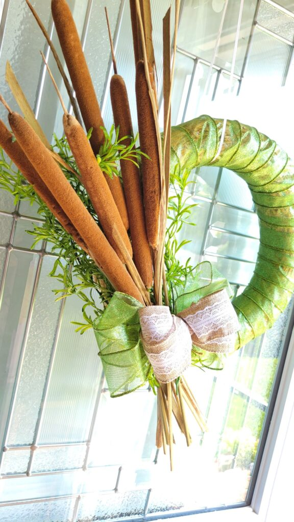 closeup of side of cattail wreath