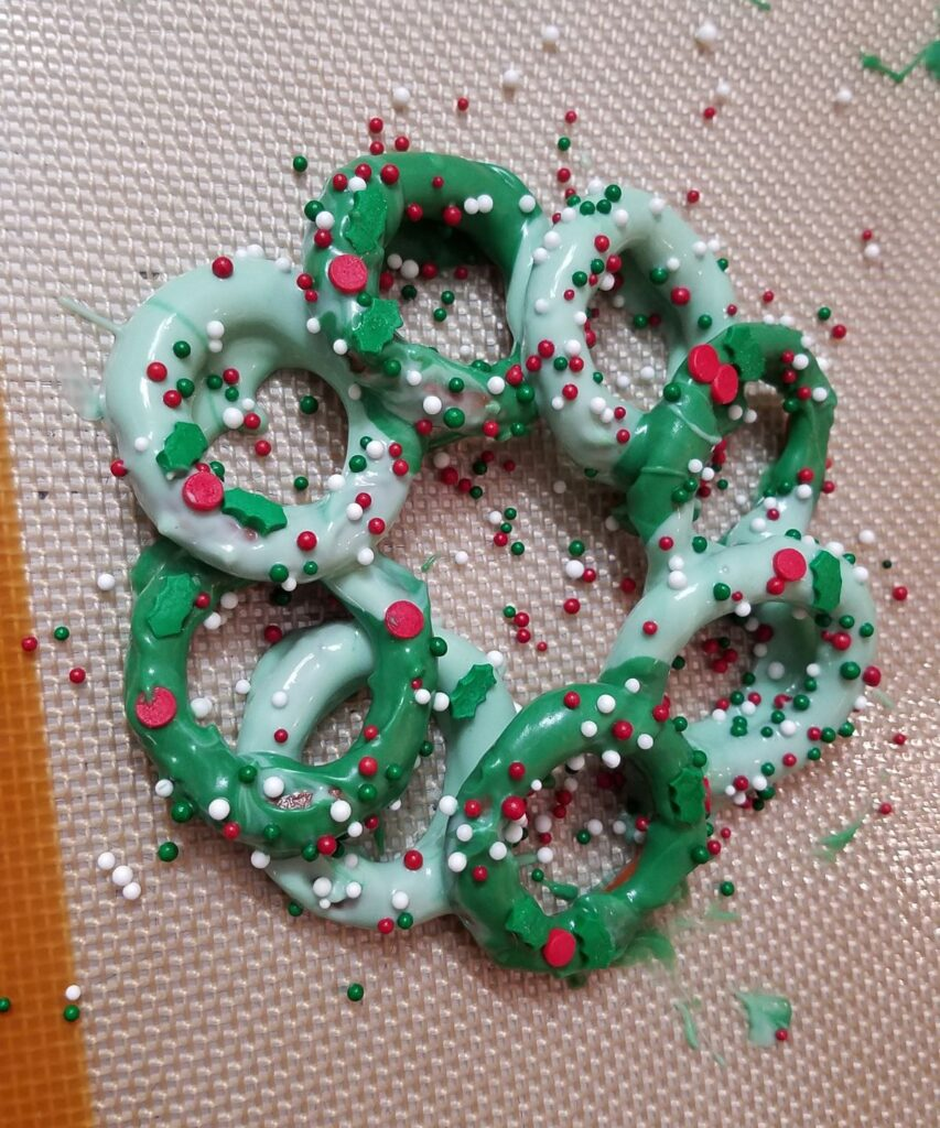 sprinkles on a pretzel wreath