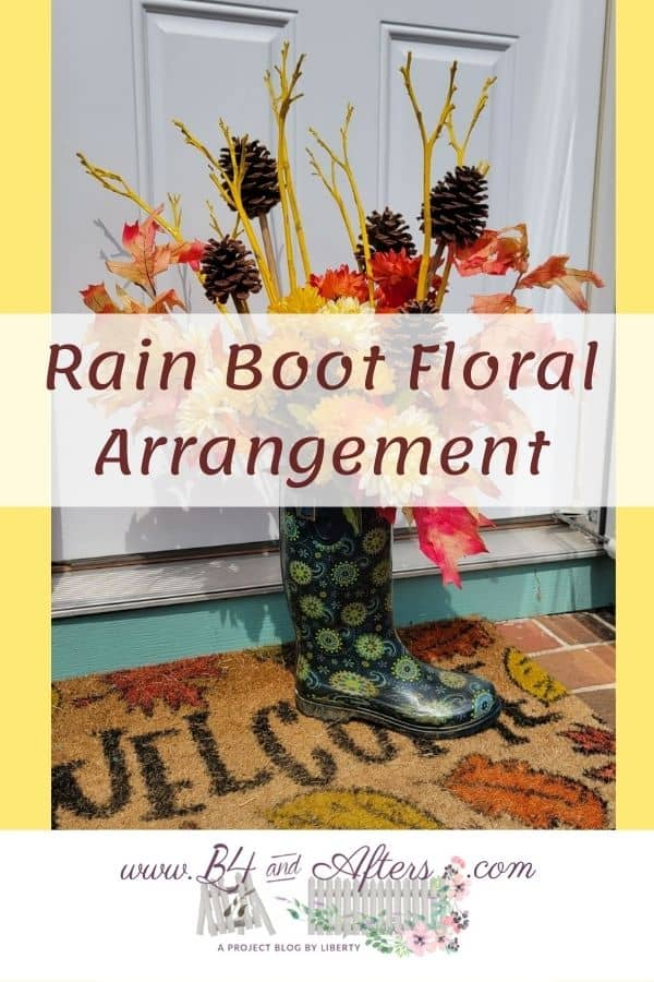 Rain Boot with a floral arrangement in it