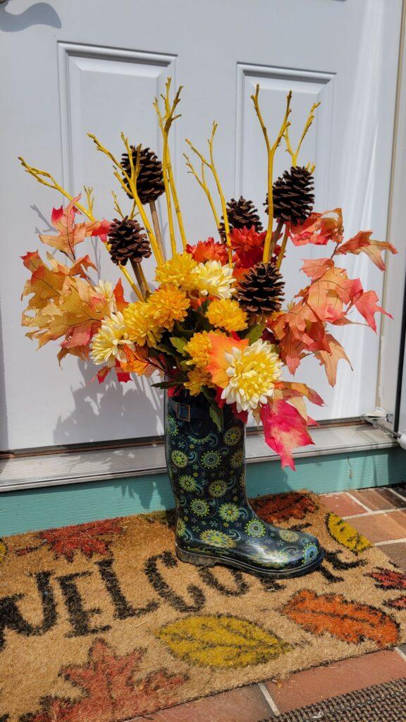 floral arrangment in a rain boot