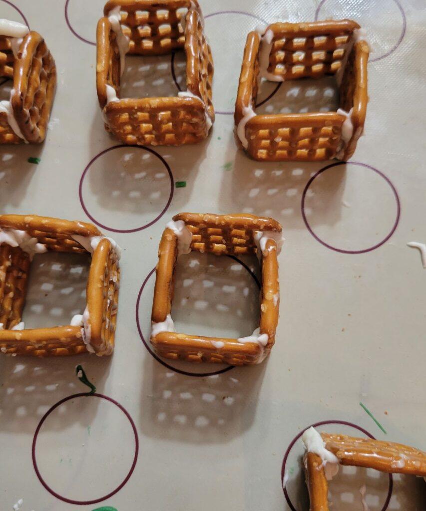pretzels arranged in squares